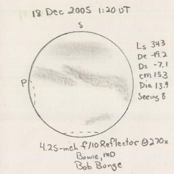 2005/12/18, 01:20 UT, CM=153 Bowie MD, 4.25-inch f/10 reflector 270x